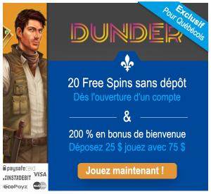 Les joueurs de casino quebecois recoivent 22 tours gratuits sans depot sur Dunder sur le jeu book of dead