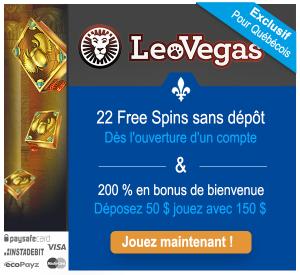 Les joueurs de casino quebecois recoivent 22 tours gratuits sans depot sur leo vegas sur le jeu book of dead